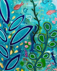 "Anna Just on Instagram: ""Up close detail- acrylic on canvas.  #acrylicpainting #acryliconcanvas #largecanvasart #annajustart #fishpainting #seaweedpainting…"" Large Canvas Art, T Art, Mixed Media Artwork, Anna, Detail, Painting, Instagram, Painting Art, Paintings"