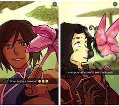 Legend of Korra: Korra and Asami in the spirit world snapchats