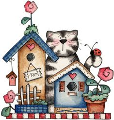 Cute for Art Journal drawing practice Arte Country, Country Crafts, Tole Painting, Fabric Painting, Art Fantaisiste, Country Paintings, Cute Clipart, Whimsical Art, Cat Art