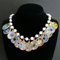 Baroque Pearl Miniature Majolica Oyster Plates Charm Necklace ...