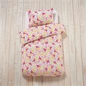 Hawaiian Bed Linen includes shades of pink matched with bright yellows :) #featherandblack #bedding