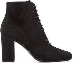Saint Laurent Black Suede Heeled Babies Boots http://www.modandretro.com/saint-laurent-black-suede-heeled-babies-boots/