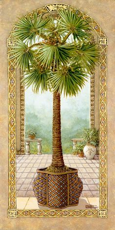 """PALM TREE IN BASKET 2  oil on canvas 30""""X15""""  Studio price: $ 650. For tile mural: www.tile mural store.com"""