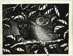 Tokuriki Tomikichiro: Fukuro- Two owls in a dark forest