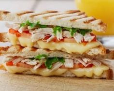 A fast and fancy grilled cheese recipe. Make this sandwich extra delicious by adding mozzarella cheese, olive oil mayo and rosemary. Grill Cheese Sandwich Recipes, Pizza Recipes, Meat Recipes, Chicken Recipes For Kids, Healthy Chicken Recipes, Healthy Cooking, Paninis, Sandwiches, Salty Foods