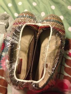 Use a shower cap to store your shoes in your suitcase while traveling and your clothes wont get dirty! Thanks for the idea Tabbatha Smith :-)