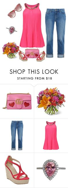 """Pink Created Diamond Ring"" by bellastreasure ❤ liked on Polyvore featuring Gucci and Paige Denim"