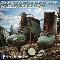 Replace Bootlaces with Paracord ~ 6 Emergency Uses For Paracord Infographic ~ Be Prepared for Anything