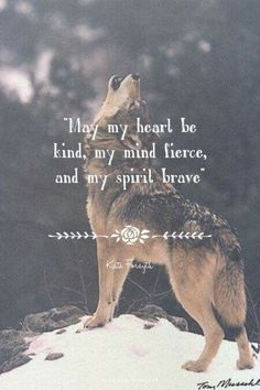 """""""May my heart be kind, my mind fierce, and my spirit brave"""" - Kate Forsyth at… Wolf Quotes, Me Quotes, Motivational Quotes, Inspirational Quotes, Spirit Quotes, Phrase Cute, Great Quotes, Quotes To Live By, Wolf Spirit Animal"""
