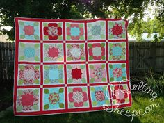 Aqua and red quilt with flannel backing by Amy from A Quilting Sheep