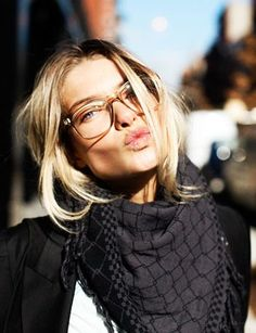 hair. glasses. scarf. expression.