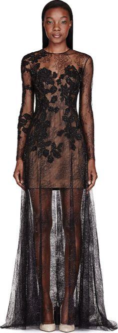 Zuhair Murad Black Metallic Embellished Lace Pillar Gown