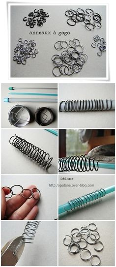 Tutorial to make your own jewelry jump rings. Really easy.   Recycle those dead click pens!
