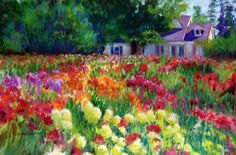 ARTFINDER: Dance of Dahlias by Susan Kuznitsky - This is one of my favorite places to paint. The Dahlia Fields in Canby, Oregon are a visual feast. The many olors and shapes of these folowers just seem to d...