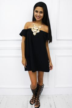 'Toulon' black peasant mini dress £15.99 free UK shipping