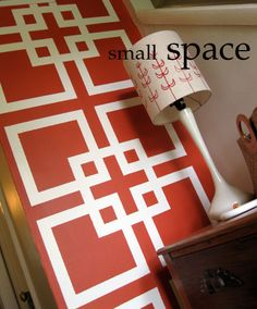 stenciled wall diy...this would be good to spice up a small room!