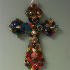 Cross made with buttons