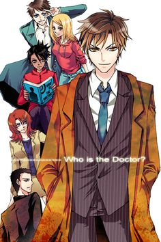 Up front is The Doctor(10th aka David tenant) then --top to bottom-- Captain Jack Heartness, Martha Jones, Rose Tyler, Donna Noble and then ?