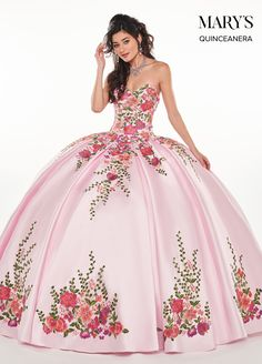 afd8f1a117f Floral Applique Strapless Quinceanera Dress by Mary s Bridal – ABC Fashion.  Lucero s Fine Boutique
