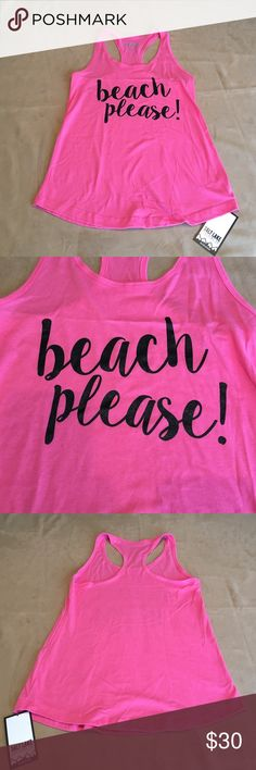 "Pink ""beach please"" racerback tank. Salt Lake Clothing pink ""beach please"" racerback tank. Salt Lake Clothing Tops Tank Tops"