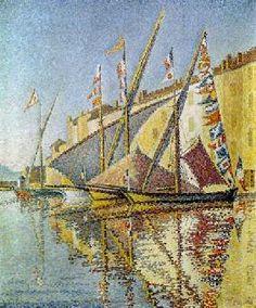 Paul Signac - Voiliers dans le port de Saint Tropez.