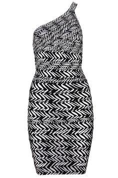 Fab's Zig-Zag Print Bandage Dress