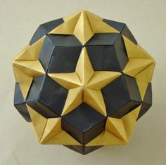 black golden origami kusudama Compound of Dodecahedron and Great Dodecahedron by manilafolder Origami Star Box, Origami And Kirigami, Origami Ball, Origami Folding, Paper Crafts Origami, Origami Boxes, Dollar Origami, Oragami, Paper Folding