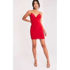 Ayishah Red Slinky Strappy Plunge Bodycon Dress (£18) ❤ liked on Polyvore featuring dresses, red, bodycon mini dress, red bodycon dress, short party dresses, cocktail party dress and sexy bodycon dresses