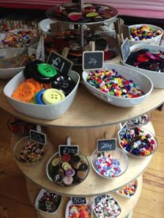 Millie Moon Haberdashery Boutique. Interesting way of presenting buttons, attracts attention due to it's sweet like display.