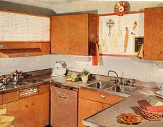 With its built-in refrigerator, cooking top, and dishwasher, this kitchen is a miracle of compactness: The counters make an uncompleted square around a 5' x 7' working floor space. Featured in the October 1955 issue.   - HouseBeautiful.com