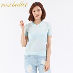rosebullet玫瑰子弹 轻薄针织短款POLO衫-tmall.com天猫