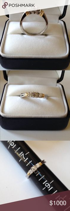 ❤️ Two Tone Gold 18K 1/2CT Diamond Trinity Ring Gorgeous ring! Stamped 18K, designer's hallmark, and 1/2 TW. White Gold band with ribbed details on shank and with Yellow Gold ribbed accents on top. 3 beautiful, genuine round Diamonds in a prong setting in a Past, Present, Future design. 1/2 Carat total diamond weight. Size is about an 8. Perfect wedding or anniversary band.  Substantial weight, about 4.92 grams. Price is firm, no trades please. Jewelry Rings