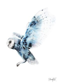 Galactic Owl  A4 Print by BrigitteMayArt on Etsy