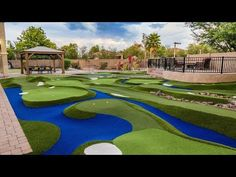"""Get Ready to Play FREE Custom Quote Course Gallery """"This is definitely a professional putting course. It's easy to maintain and all the custom features give it a visual appeal just like a rea… Golf Putting Green, Backyard Putting Green, Golf Green, Backyard Sports, Outdoor Play Areas, Miniature Golf, Artificial Turf, Gym Design, Golf Courses"""