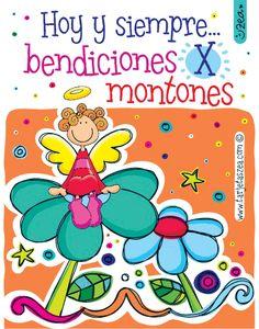 Bendiciones para ti-Ángel sobre flor © ZEA www.tarjetaszea.com