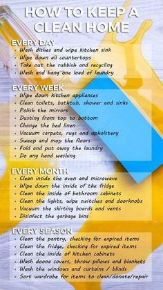 How to keep a clean home - handy planner and list. Cleaning tips, hacks, and ideas.