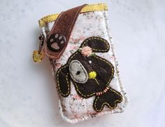 Brown Puppy Mobile Phone Pouch-Samsung-Sony-HTC from Lily's Handmade - Desire 2 Handmade Gifts, Bags, Charms, Pouches, Cases, Purses by DaWanda.com