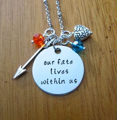 "Disney's ""Brave"" Inspired Necklace. Merida quote ""our fate lives within us"" by WithLoveFromOC, $21.00. #Inspirational #DisneyPrincess"