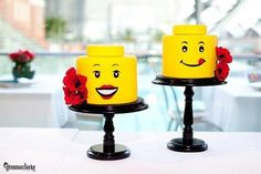 Mr. and Mrs. Lego Cake by Room for Cake