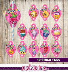 80% OFF SALE 24 Shopkins Straw Tags instant por TusCuchituras