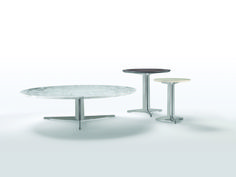 FLEXFORM FLY oval and round small tables with frame in metal, top in wood veneers or marble. Designed by ANTONIO CITTERIO.