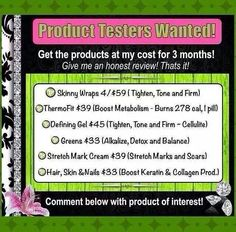 Product Testers Needed!  Msg Me at http://www.ItWorksByCharity.com or 513 836 8877