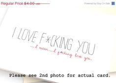 SALE Adult Love Card. Funny Anniversary Card. Simple Just Because Card. Cheeky Card.