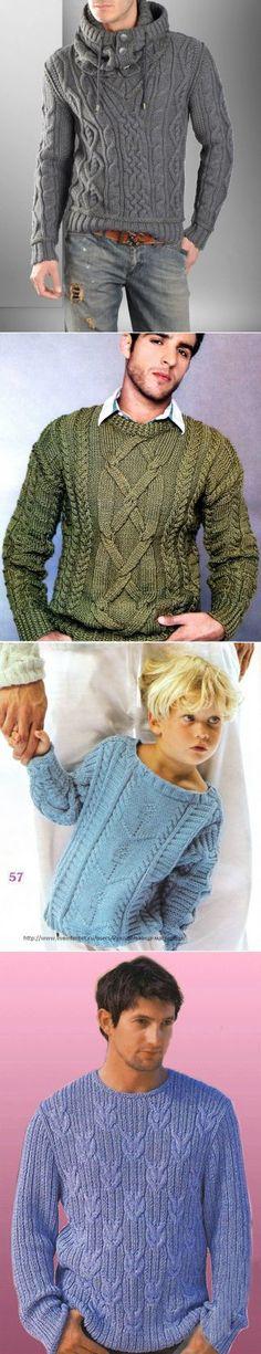 Мужские пуловеры. Подборка схем и описаний.