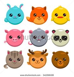 Set of cute cartoon round animals, isolated zoo stickers
