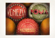 Italian orange wrappers - typography workshop postcard design by Louise Fili Ltd Louise Fili, Design Art, Print Design, Retro Design, Food Design, Web Design, Design Ideas, Schrift Design, Branding