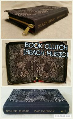 Book Clutch Handmade (Titled: Beach Music) Dark Blue Spine with Floral Cover, Zips Closed.
