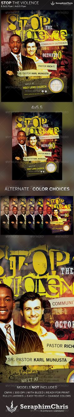 Stop the Violence: Church Flyer Template $6.00  This Stop the Violence: Church Flyer Template is customized for special events that need a modern look. This design can also be used for multiple purposes.