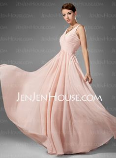 A-Line/Princess V-neck Floor-Length Chiffon  Charmeuse Prom Dresses With Ruffle (018005068)
