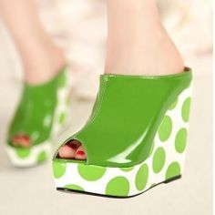 Wholesale Shop of big dot wedges with fish mouth sandals CZ-0694 green - Lovely Fashion